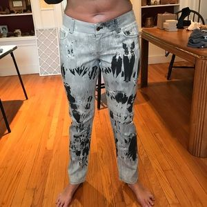 SOLD - Alice & Olivia distressed M&W paint print